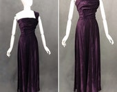 Vintage Dress 1940 39 s Velvet Gown 1940 39 s Purple and Green Polka Dot Evening Dress