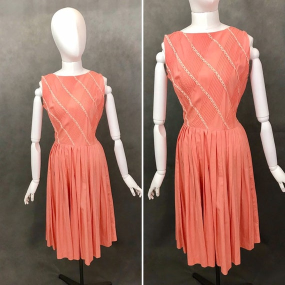 Vintage Dress | 1950s Salmon Pink Summer Dress | 1