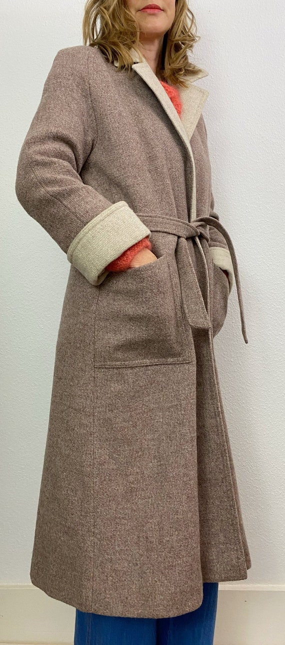 Vintage Coat | 1970's Wool Belted Coat | Cream and