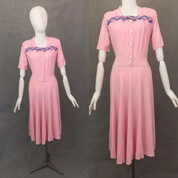 Vintage Dress   1940's Candy Pink Cotton Tea Dress