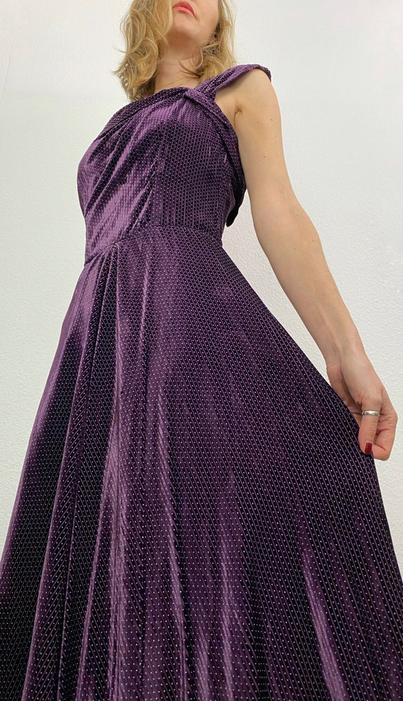 Vintage Dress | 1940's Velvet Gown | 1940's Purple