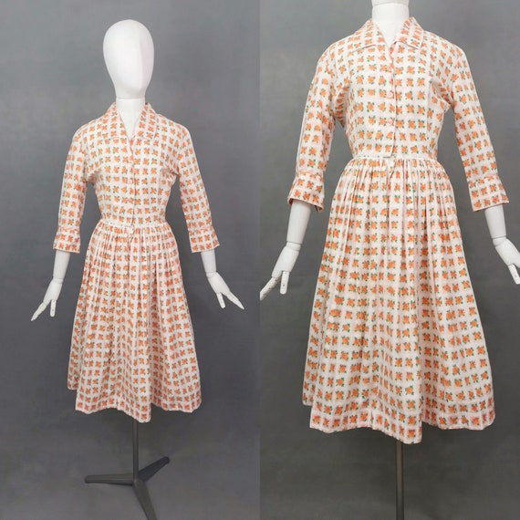 Vintage Dress | 1950s Horrockses Dress | Orange Ro