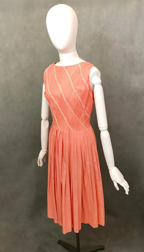 Vintage Dress | 1950s Salmon Pink Summer Dress | … - image 3