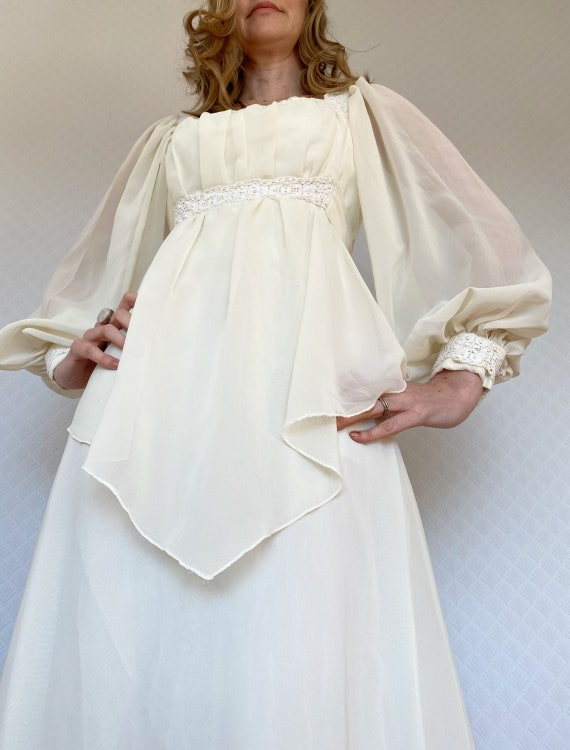 Vintage White Cotton With Crochet and Cross Stitch Embroidered Maxi Dress Bell Sleeves Dress Wedding Dress