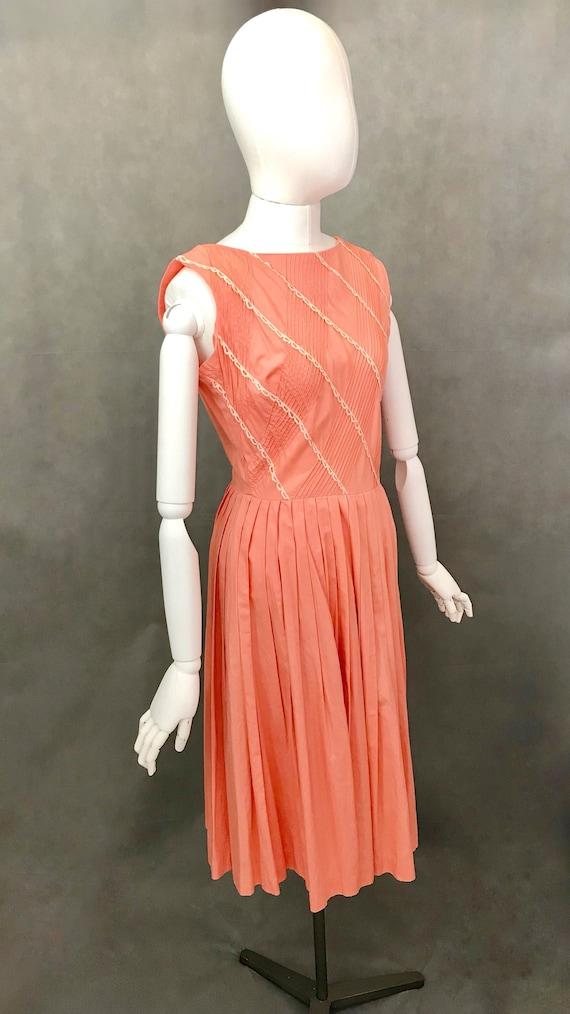 Vintage Dress | 1950s Salmon Pink Summer Dress | … - image 2