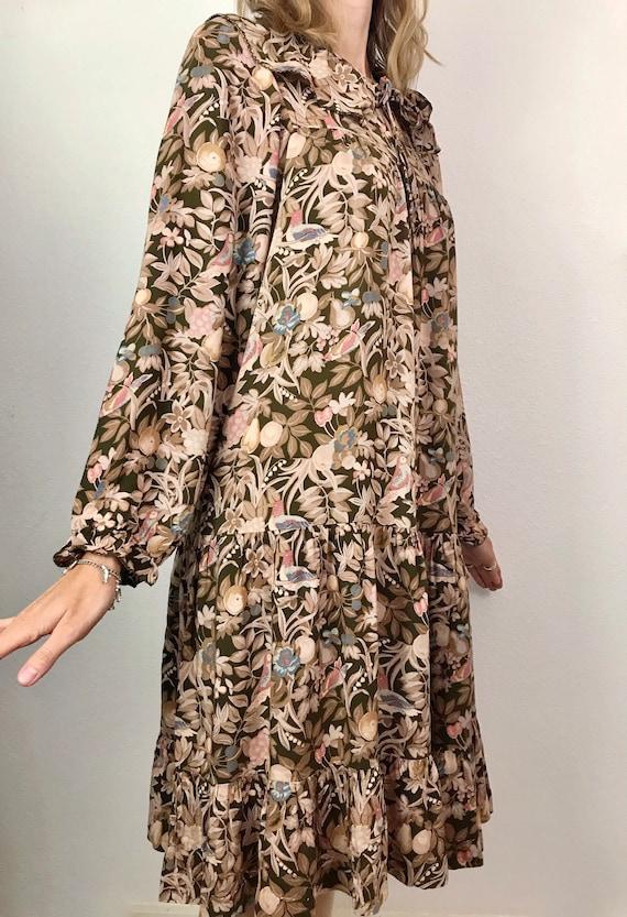 Vintage Dress | 1970's French  Autumnal Smock Dres