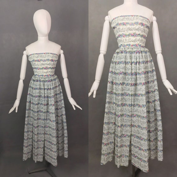 Vintage Dress   1950s Floral Strapless Nylon Dress
