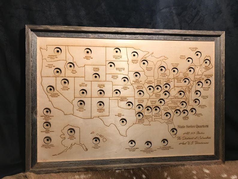50 State Quarter Map State Quarters Coin Display Quarter Etsy - Us-map-for-quarters