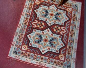 "VTG PHYLCOR NEEDLEPOINT Petit Point Tapis Dollhouse Carpet Rug Kit 8 X 10.5"""