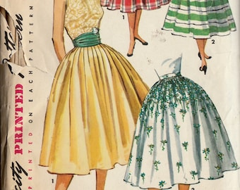 abdc409ba0 Vintage 50's Sewing Pattern Simplicity 1490 Women's Misses' Full Softly Pleated  Skirt with Cummerbund - Waist 27 Hip 36 (Cut and Complete)