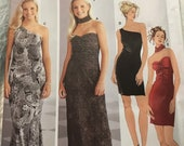 Sewing Pattern Jessica McClintock Simplicity 5728 Women s One Shoulder Strapless Knit Evening Dress - Sz 11 12 13 14 15 16 Bust 33.5 35 36.5