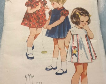 """Sewing Pattern Butterick 4049 Girls' A-Line Dress and Jumper with Puffed Sleeves - Size 1/2  6 months Breast 19"""" - Cut and Complete"""