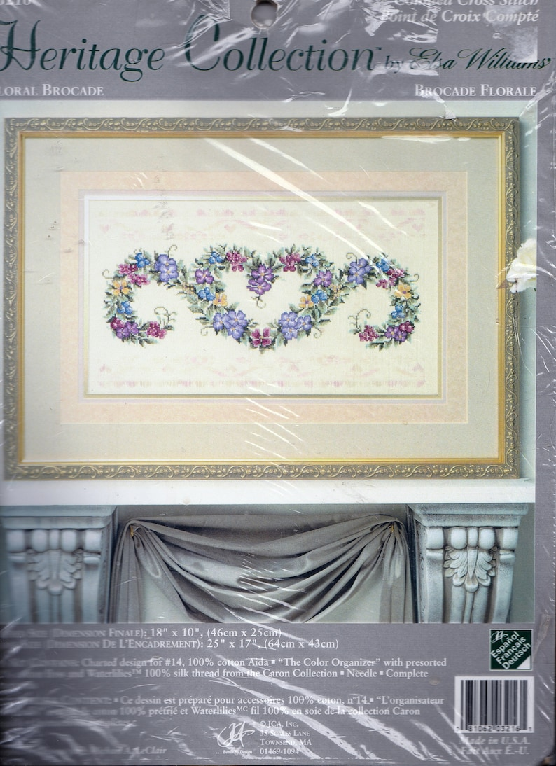 46 cm x 26 cm Floral Brocade 18 x 10 Counted Cross Stitch Kit Heritage Collection by Elsa Williams