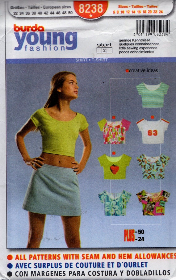 Sewing Pattern Burda Young Fashion 8238 Women\'s Cropped | Etsy