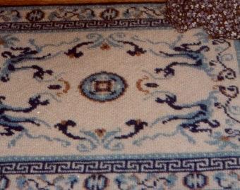 "VTG PHYLCOR NEEDLEPOINT Petit Point Tapis Dollhouse Miniature Carpet Rug Kit 8.5 X 10.5"""
