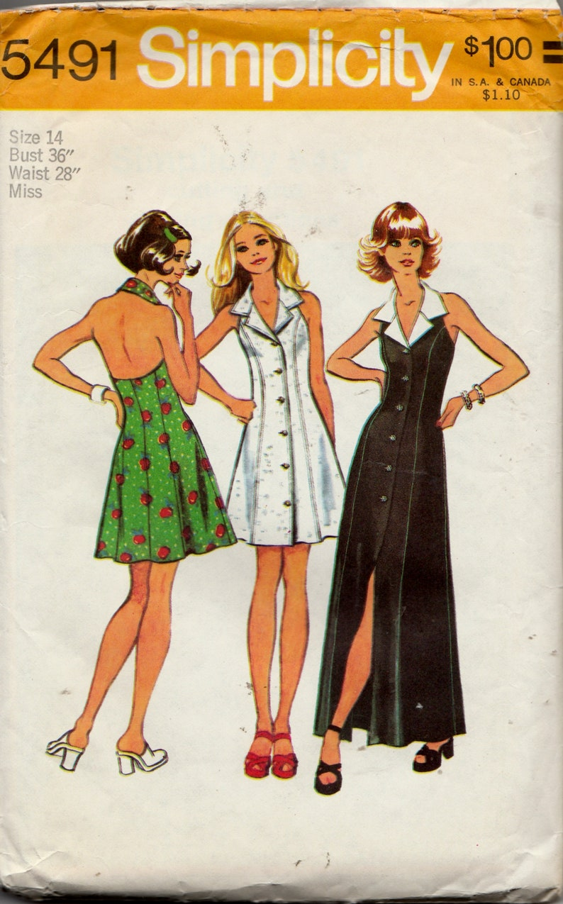 eb3bbc2486 Vintage 70 s Sewing Pattern Simplicity 5491 Women s Misses  Halter Mini  Dress Floor Length in Two Lengths Sz 14 Bust 36 Waist 28