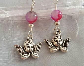 Angel earrings cherub earrings Cerise Pink Agate Gemstone earrings Silver hooks Cherub jewellery angel jewelry Angel drops fuschia pink