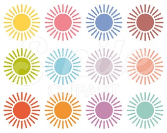 Sun Clipart Set for Commercial Use - 0028