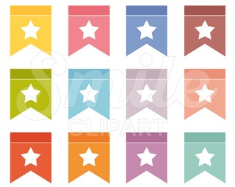 Star Bunting Flag Clipart Set for Commercial Use - 0011