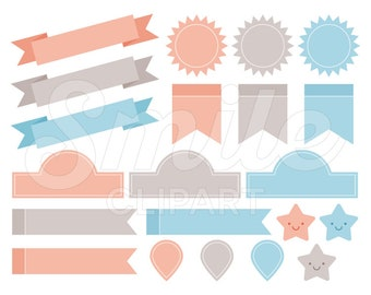 Label Tags Banner and Ribbon Clipart Set - 0009