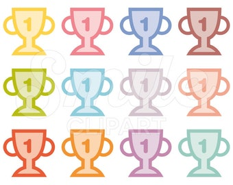 Trophy Clipart Set for Commercial Use - 0030