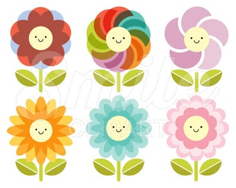 Happy Flower Clipart Set for Commercial Use - 0007