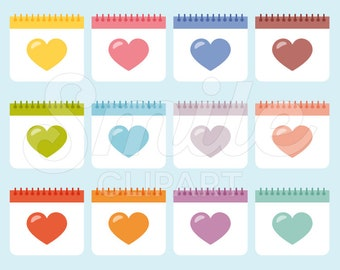 Heart Calendar Clipart Set for Commercial Use - 0023