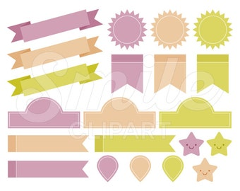 Banners, Tags, Ribbons and Labels Clipart Set for Commercial Use - 0010
