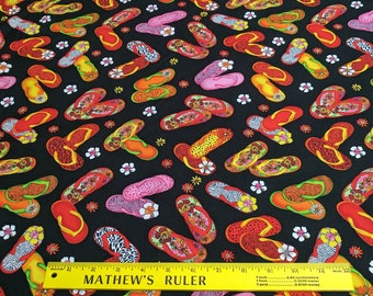 c7bff6faef0b Flip Flop Island-Black Cotton Fabric from Exclusively for Quilters