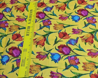 Butterflies Are Free Tulips-Yellow-Cotton Fabric(120-1088) from Paintbrush Studios