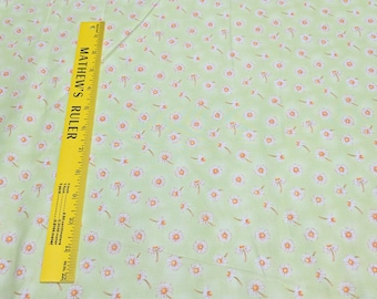 Daisies on Green Cotton Fabric