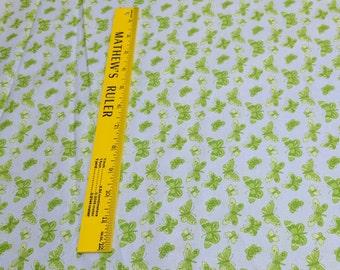 Green Butterflies on Blue Cotton Fabric
