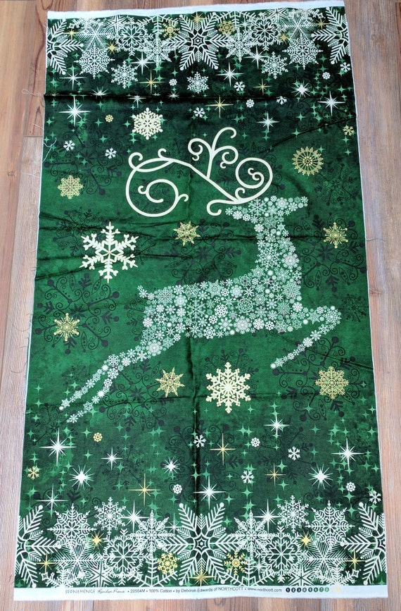 Stonehenge-Reindeer Prance Green Panel Cotton Fabric Designed by Deborah  Edwards for Northcott - Stonehenge-Reindeer Prance Green Panel Cotton Fabric Designed Etsy