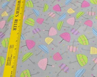 Spring Showers-Umbrellas on Gray Cotton Fabric from Windham Fabrics