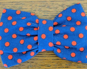 Blue and Orange Clip On Bow Tie