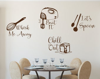 Kitchen wall decals, Kitchen utensil art, lets spoon decal, just beat it decal, kitchen decals, whisk me away