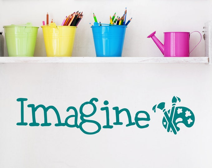 Imagine wall decal, artist wall decal, craftroom decor, imagine wall art, imagine decal,