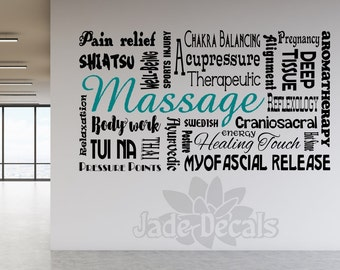 Massage wall decal, spa decor, massage therapy, spa wall decal, massage therapist gift, massage decor, spa wall art, massage decal