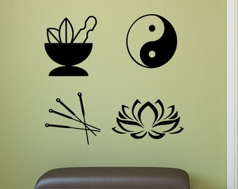 Acupuncturist decals, acupuncture wall art, chinese medicine decor, acupuncture decals