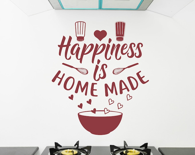 Happiness is homemade Wall Decal, Kitchen Decal, Kitchen Decor, Kitchen wall decal, Kitchen quotes, vinyl wall art, Happiness sticker