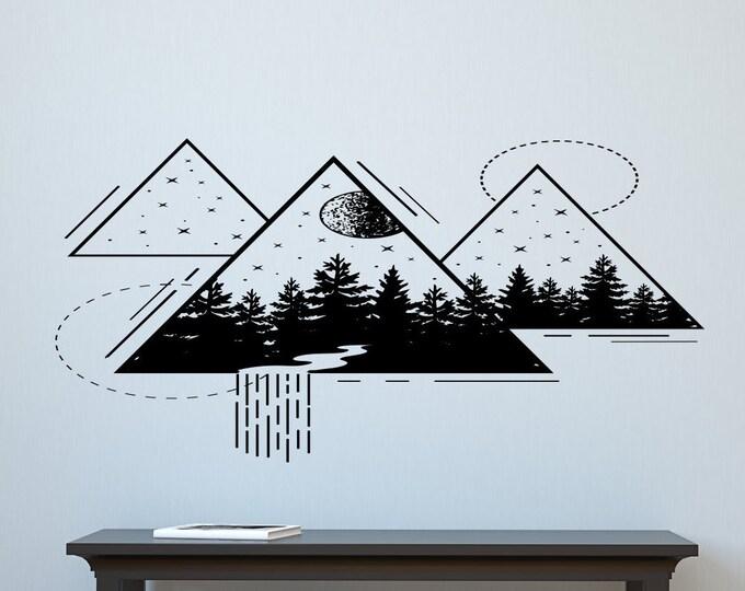 Geometric wall decal, forest wall art, sacred geometry, abstract art wall decal, nature wall art, mountain wall decor, triangle wall art