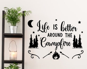 Rv camper decal, Camper decor, rv decal, Life is better around the campfire, happy camper, campfire, wall decal,