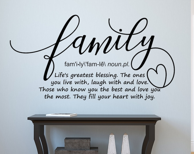 Family definition wall decal, family wall art, family sign, family wall decor, family quote, family rules, living room decal