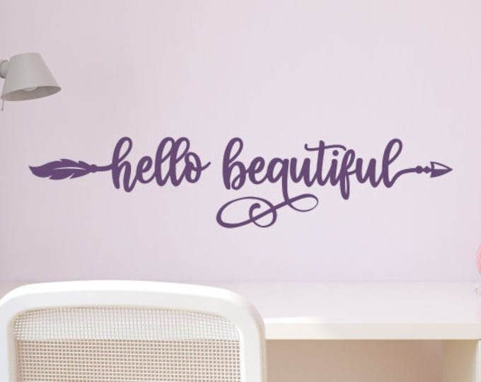 Hello Beautiful decal, mirror affirmation, mirror sticker, hello gorgeous, mirror quote, wall decal, you're beautiful, mirror decal