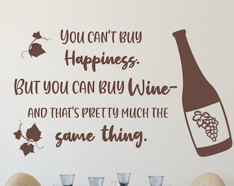 Wine wall decal, kitchen wine decal, wine wall art, happiness is wine, wall wine decor, wine is happiness
