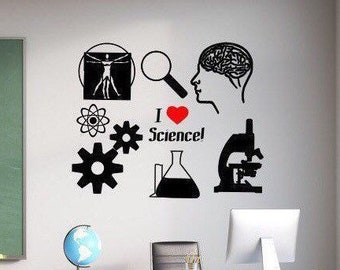 I love Science vinyl wall decal for classroom// science lover gift