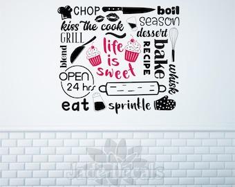 bakery wall decal, Life is sweet, cupcake decal, bakery sign, cupcake decor, baking wall art