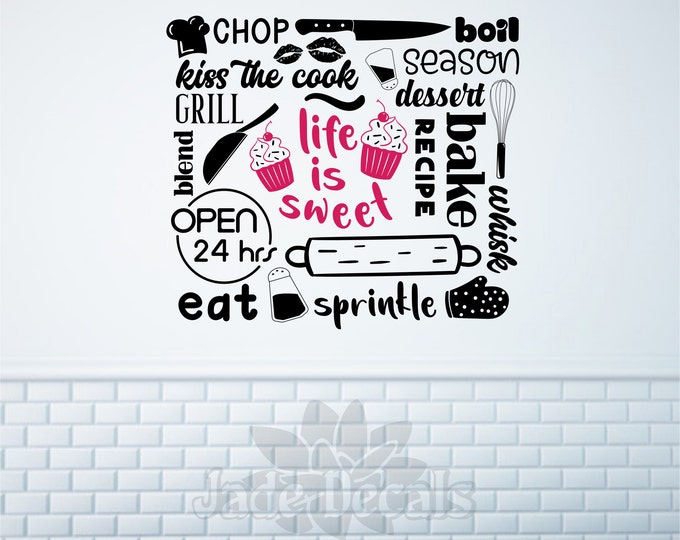 bakery wall decal, Life is sweet, cupcake decal, bakery sign, cupcake decor, baking wall art