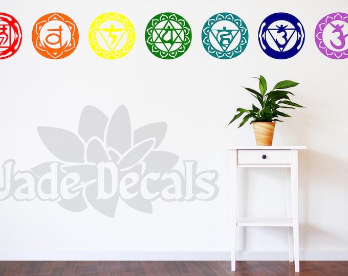 Chakra wall decals, Chakra art, Chakra decor, yoga wall decal, yoga studio decor