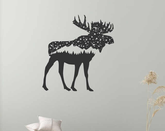 Moose wall decal, moose with trees and stars, bull moose decal, moose wall decor, moose wall art, mountain decal,